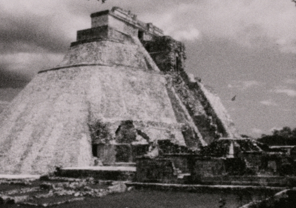 B&W image of archaeological pyramid